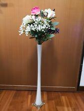 Vaso vetro stelo bianco. Ideale per cerimonie. H60cm x 4cm diametro.