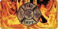 Fire Dept. Flames Embossed Metal License Plate / Sign