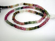 "Ebay 100% Natural Multi Tourmaline 4mm Faceted Roundel Gemstone Beads 13"" Strand"