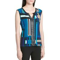 CALVIN KLEIN Women's Teal Printed Embellished Split Neck Blouse Shirt Top TEDO