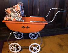 Vintage Orange Plastic Baby Doll  Buggy Carriage Stroller Spring Vinyl Canopy