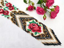 Long BEADED NECKLACE gerdan HANDCRAFTED rose Jewelry Ukrainian Folk traditional