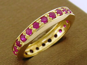 R261- Lovely 9ct Solid Gold Natural Ruby Full Eternity Ring Anniversary Wedding