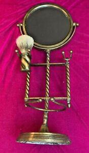 Antique Victorian barley twist Brass~Mirrored Shaving stand+Brush