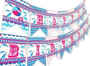 Splish Splash Pink Happy Birthday Banner Pool Party Pennant