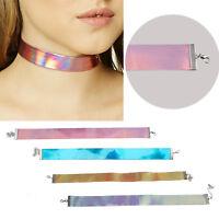 New Holographic Choker Necklace Handmade Laser Chocker Rainbow Punk Gothic UK