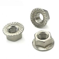 M12*1.75mm Pitch Left Hand Serrated Flange Nut Hex Lock Nut 304 Stainless Qty 1