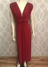 Love Squared Women's Red Stretch V-Neck Maxi Formal Long Dress Plus Size 1X New