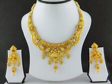 Indian Fashion Jewelry Necklace Set Gold Plated Bollywood Wedding Earrings Set A