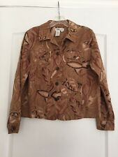 Coldwater Creek Woman's 100% Cotton Fall Blazer Jacket - Leaf Print - Small NWOT
