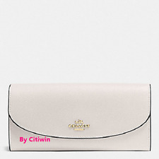 New Coach F54009 Slim Envelope Crossgrain Leather Wallet Chalk White