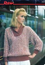 """~ Robin Knitting Pattern For Lady's Sweater With Cross-Over Collar ~ 30"""" ~ 40"""" ~"""