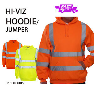 PLAIN NO TEXT Hi Vis/Viz HOODIE JUMPER High Visibility Work Wear Safety HKV05 P