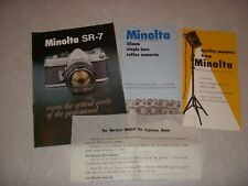 Vintage MINOLTA SR-7 CAMERA BOOKLET, 35 MM SINGLE LENS REFLEX CAMERAS - 3 BOOKS!