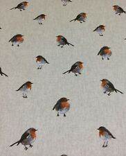Chatham Glyn Xmas Robins ,Linen Look Fabric for Crafts /Cushions/ Table Runners