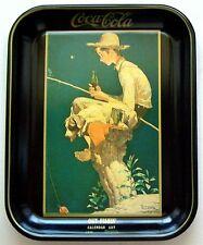 """1981 COCA COLA NORMAN ROCKWELL 1935 CALENDAR ART TRAY """"OUT FISHIN"""" NOS"""