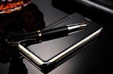 Funda carcasa libro para Samsung Galaxy J7 2016 Flip tapa efecto espejo negro