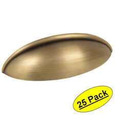 *25 Pack* Cosmas Cabinet Hardware Brushed Antique Brass Cup Handle Pull #1399BAB