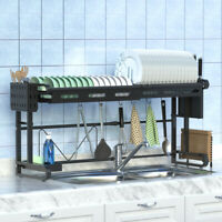 Adjustable Dish Drying Rack Stainless Steel Drainer Dryer Kitchen Holder 60-96cm