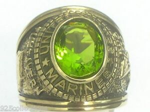 12x10 mm United States Marines Military August Peridot Stone Men Ring Size 12