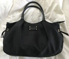 KATE SPADE Black Nylon & Leather STEVIE Tote Bag Purse-NICE