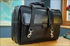 COLE HAAN Shoulder Leather XL Doctor Lawyer Laptop Briefcase Bag Black Gent EUC