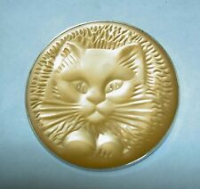 RARE Authentic LALIQUE Cat Chat Satin Peach Crystal Pin Brooch in Original Box