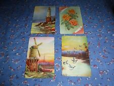 a31. 4 Vintage Swap Playing Cards  Blank Backs  Lighthouses Birds  Flowers