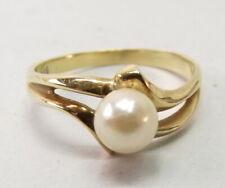 Vtg 14K Gold Cultured Pearl Ring Sz 6.5 Modernist Setting Solitaire Estate 5.73