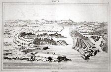 MALTA VALETTA ANTIQUE BIRD'S-EYE VIEW 1848 VALLETTA HARBOUR VOGELPERSPEKTIVE