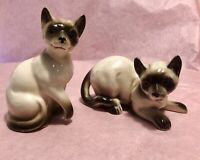 Vintage Pair Siamese Cats Laying & Sitting - Unmarked Maybe Napco Lefton Enesco?