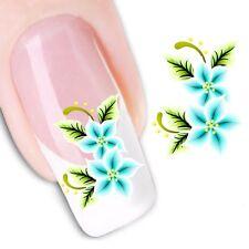 Nail Art de transferencia de agua Pegatina Adhesivos calcomanías para Flores Turquesa (DX1161)