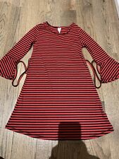 Nwt Justice Striped Red & Black Dress Bell Sleeve  Size 7 Bts School
