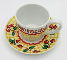 Mary Engelbreit Good Friend Time for Tea 7oz Cup & Saucer Yellow Red Cherry