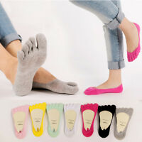 5 Pairs Women Cotton Invisible Toe Socks Five Finger Socks Sport No Show Low Cut