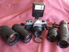 Pentax K1000 w/5 Lenses Complete KIT 35mm Student Camera Ready to use NoReserv