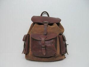 vtg Handmade Brown Genuine Leather Large Backpack Drawstring Buckle Rucksack Men