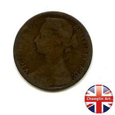 Un bronzo Britannica 1876 H Victoria PENNY COIN (Heaton) (Ref:1876_23/24)