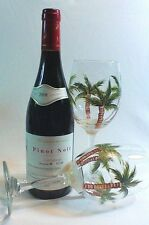 TWO HAND PAINTED WINE GLASSES WITH TROPICAL PALM TREES**Large 20 oz. Size