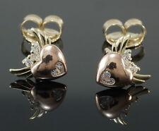 333 Gold Ohrstecker 1 Paar  Gold zweifarbig Herz  mit Flügel  Zirkonia Steine