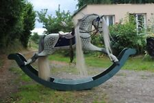 Large Antique Wooden Rocking Horse extra carved attributed to Paul Leach