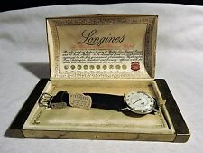 VINTAGE LONGINES 14K WHITE GOLD MYSTERY DIAMOND DIAL 1950'S ORIGINAL BOX & TAGS!