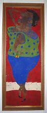 Sabala Elisabeth acrylique et gouache sur carton signée art brut figuration