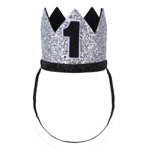 Infant Baby Birthday Party Crown Shiny Hat Sparkly Elastic Headband Photo Props