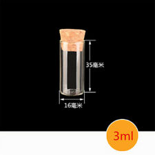Blank Tiny Small Glass Test Tubes With Cork Stopper Borosilicate Chemistry  XA