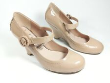 M & S cream patent leather wedge heel shoes uk 7.5 Wide