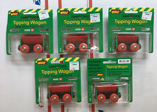 "vintage BRIO 1996 red Train Tipping Wagon NEW LOT/5  Magnetic 3"" Load Carry"