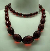 """Lovely antique old Cherry Bakelite Amber Bead Necklace 30"""" In Length"""