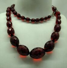 "Lovely antique old Cherry Bakelite Amber Bead Necklace 30"" In Length"