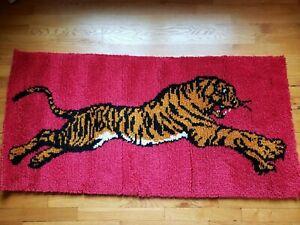 Vintage Shillcraft Wool Latch Hook Rug 27 x 55 Tiger Design